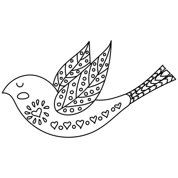 Coloring Book Or Pages For Adults Illustration Birds With Flowers In A Scandinavian Style