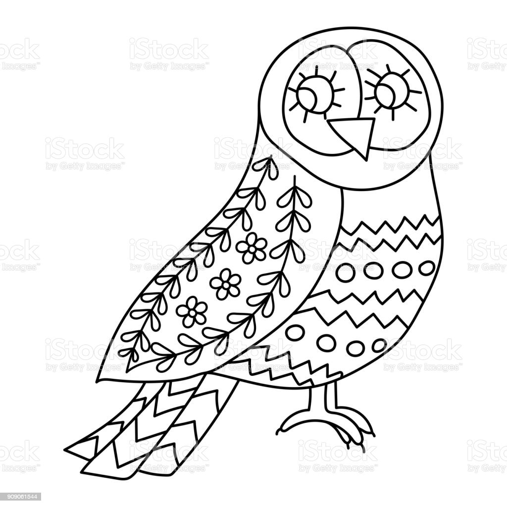 Coloring Book Or Pages For Adults Illustration Birds With Flowers In A  Scandinavian Style Folk Art Stock Illustration - Download Image Now