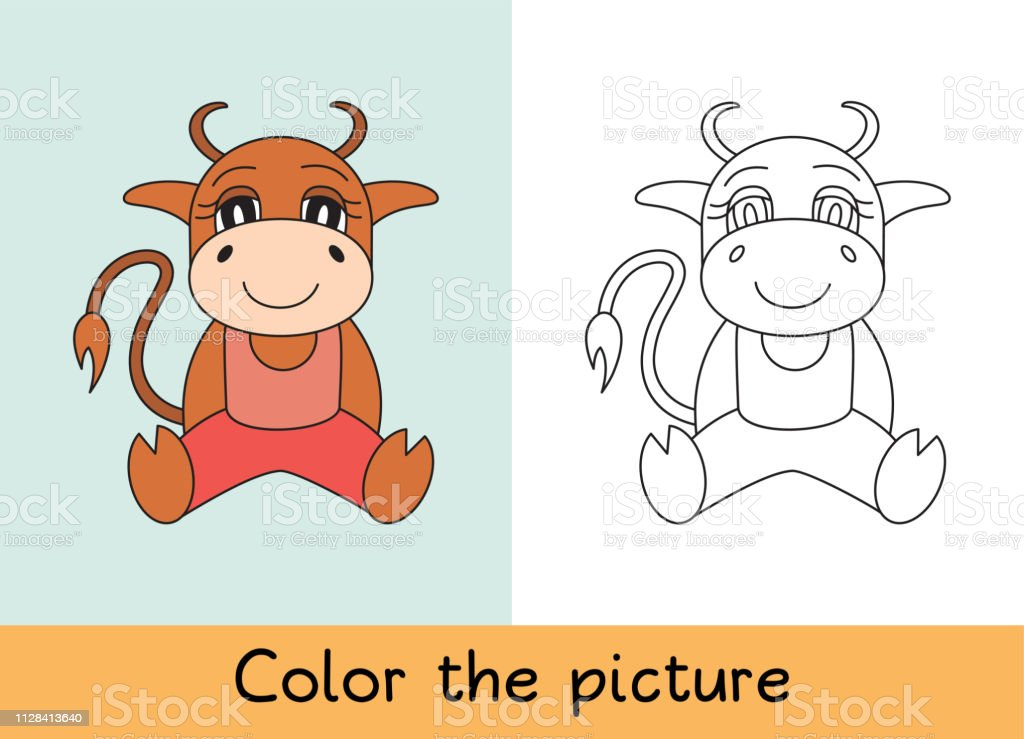 Coloring Book Ox Bull Cow And Calf Cartoon Animall Kids Game Color