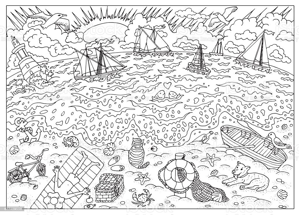 Coloring book page. After storm