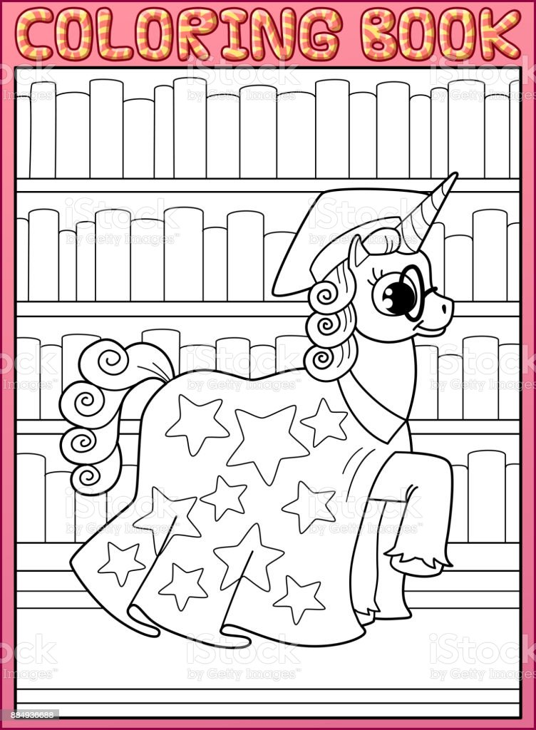 Ilustración de Página De Libro Para Colorear Caballo Unicornio De ...