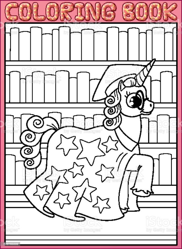 Coloring book page. Astronomy master unicorn horse walks along book's shelves vector art illustration