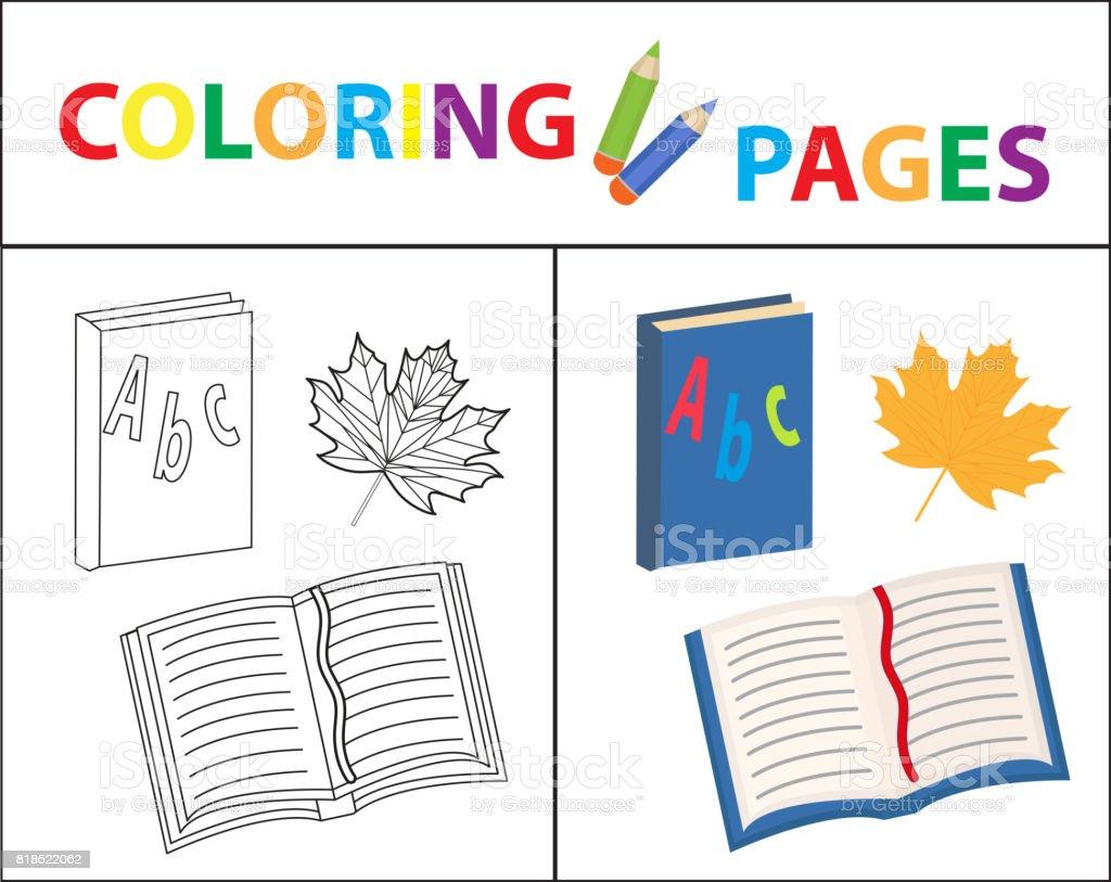 Ilustración de Página De Libro Para Colorear Sistema De La Escuela ...