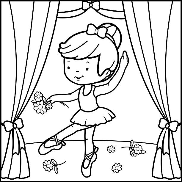 108 Ballerina Coloring Pages Illustrations Clip Art Istock