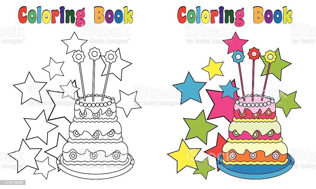 Ilustración de Libro Para Colorear Página Pastel De Cumpleaños De ...