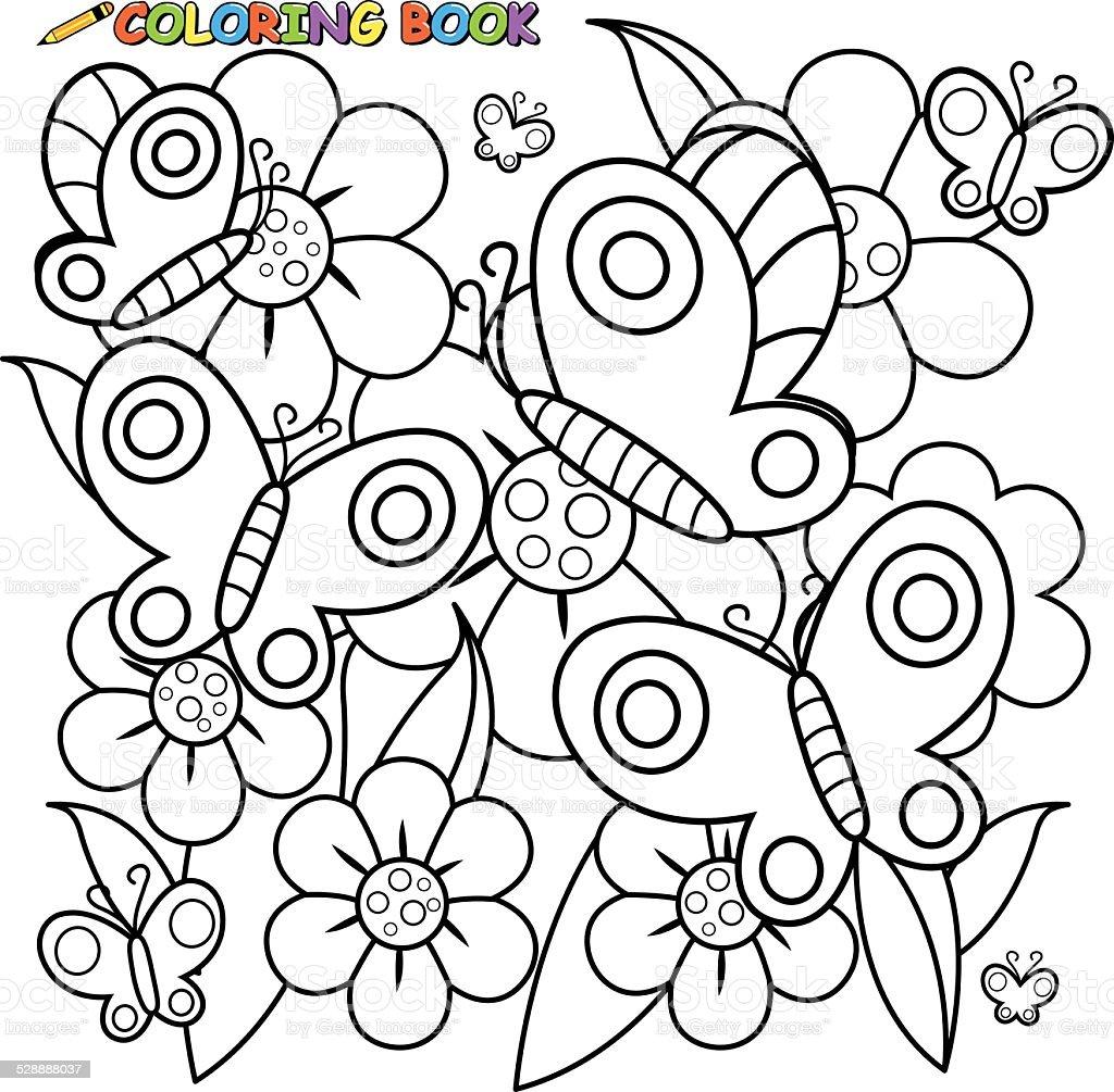 Ben noto Libro Da Colorare Pagina Farfalle E Fiori Illustrazione 528888037  FV14