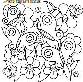 Vector Illustration of a black and white outline image of butterflies flying on flowers in springtime.
