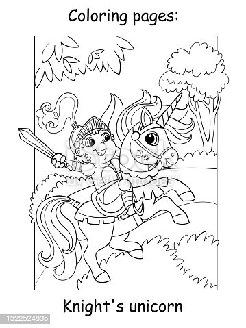 Coloring book page cute little knight in armor riding a unicorn