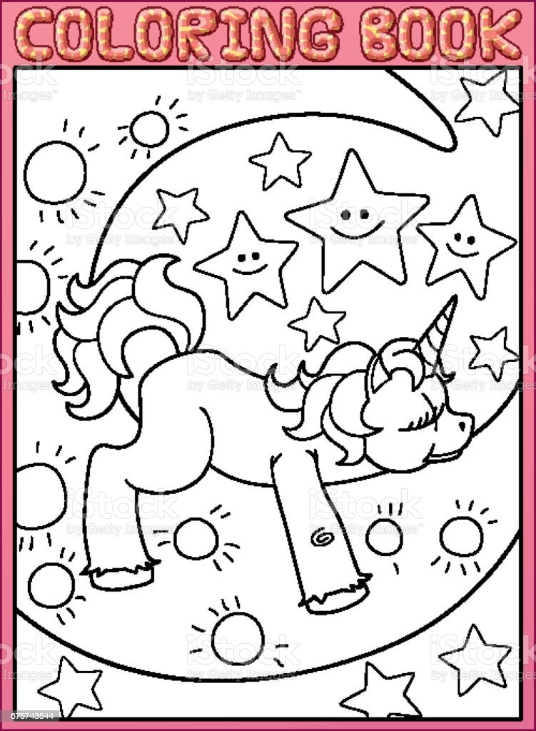 Coloring Book Page Cute Little