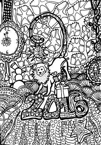 Coloring book page design for adult. Monkey animal for 2016