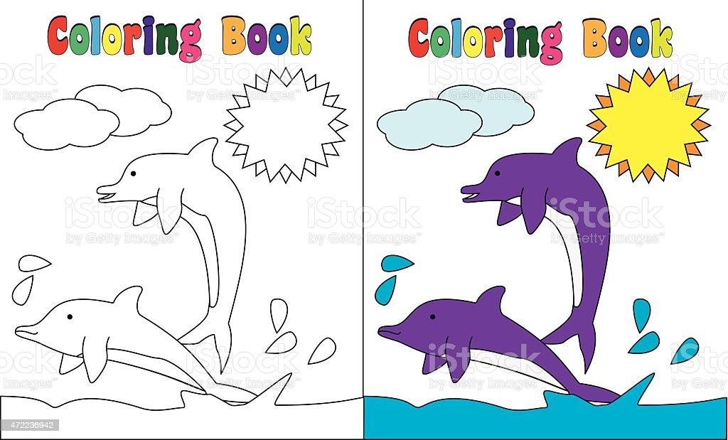 Ilustración de Libro Para Colorear Página A Los Delfines Al Mar y ...