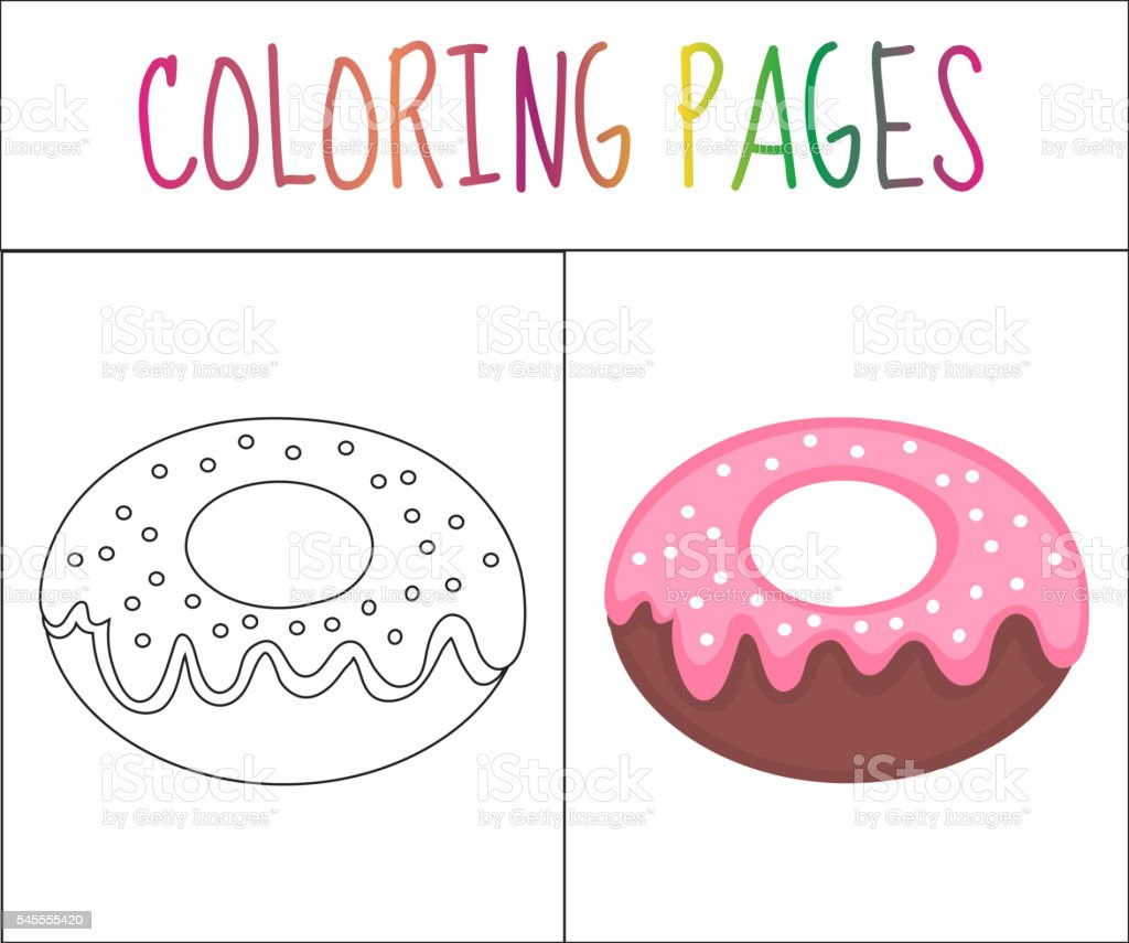Coloring Book Page Donut Sketch And Color Version Stock ...