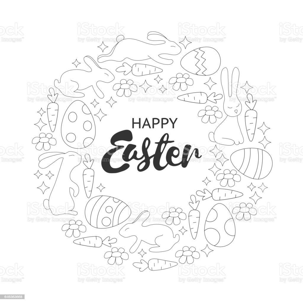 Página De Libro Para Colorear Guirnalda De Conejos Y Huevos De ...