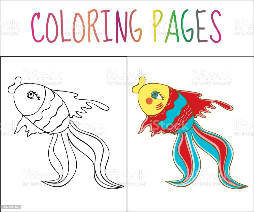 Coloring Book Page Fish Sketch And Color Version Stock ...