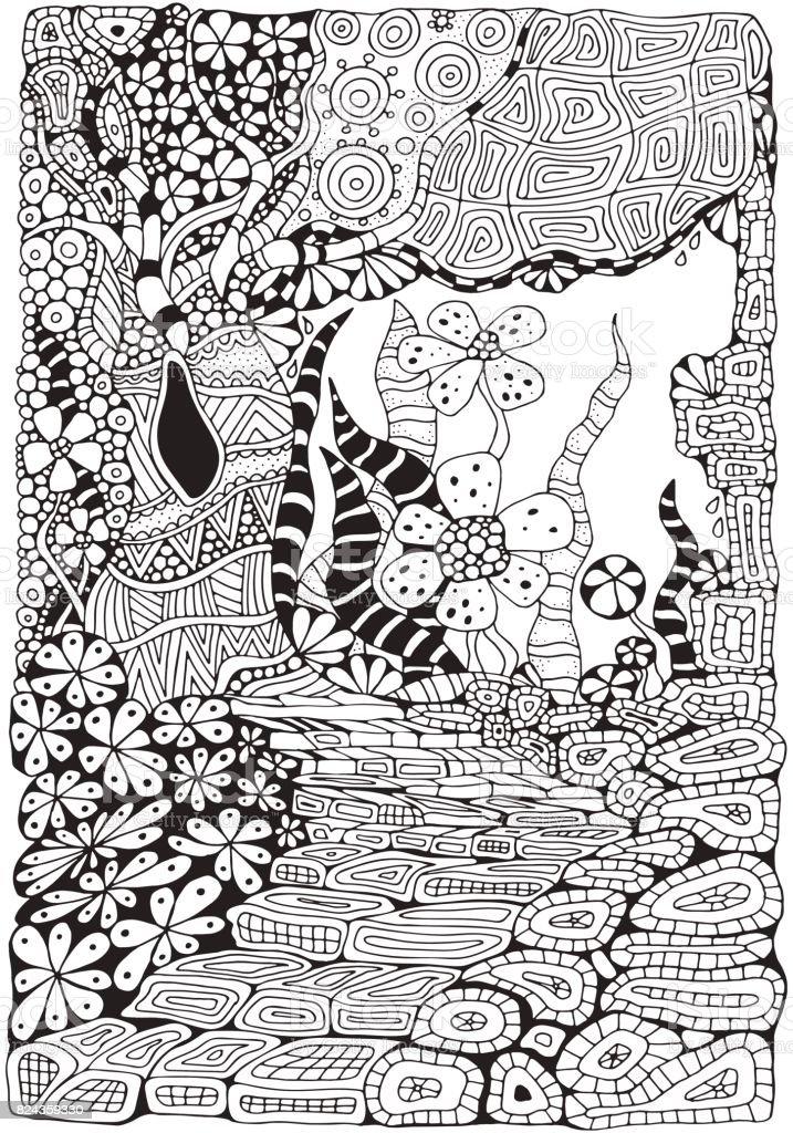 Ilustración de Página De Libro Para Colorear Para Niños Y Adultos ...