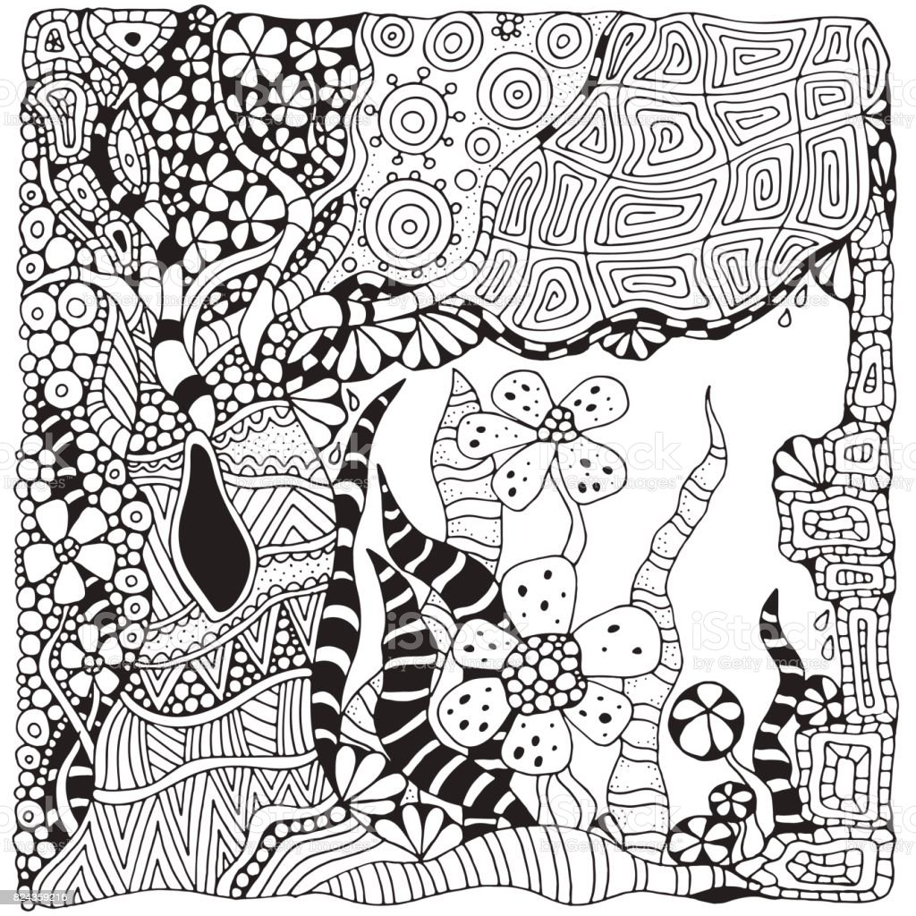 Coloring Book Page For Adult And Children Black White Abstract Fantasy Picture Old