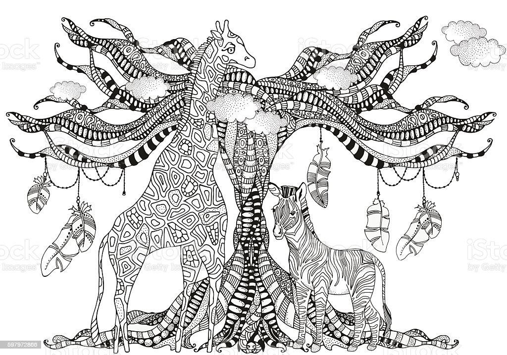 Coloring Book Page For Adult And Children Giraffe And Zebra Stock ...