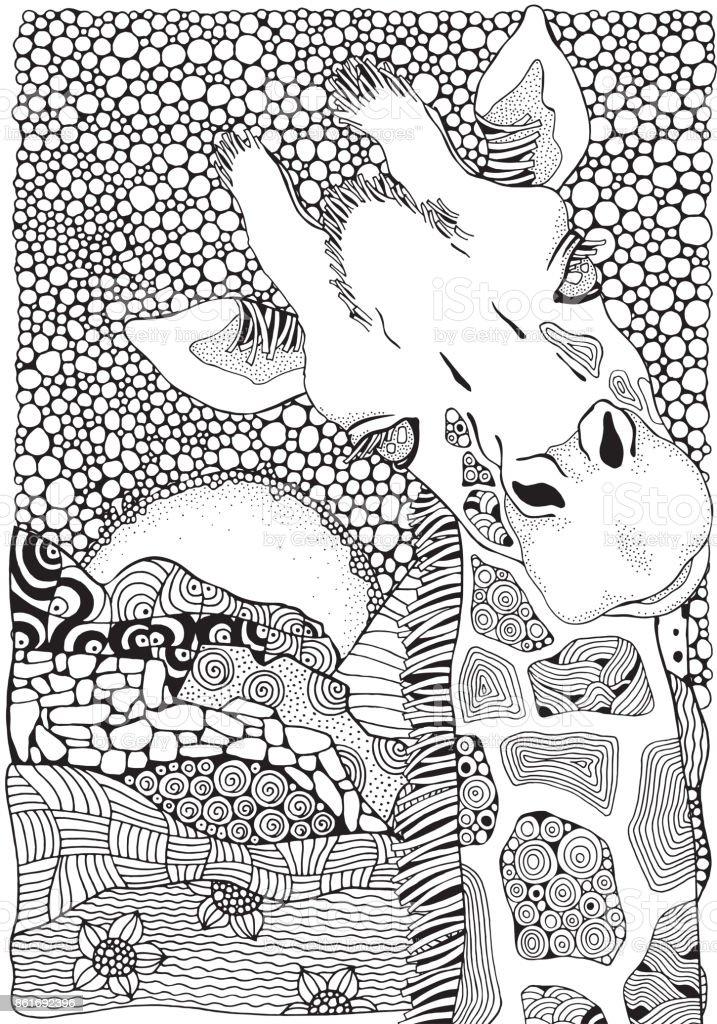Buchmalvorlagen Für Kinder Und Erwachsene Giraffe Schwarz Weiß