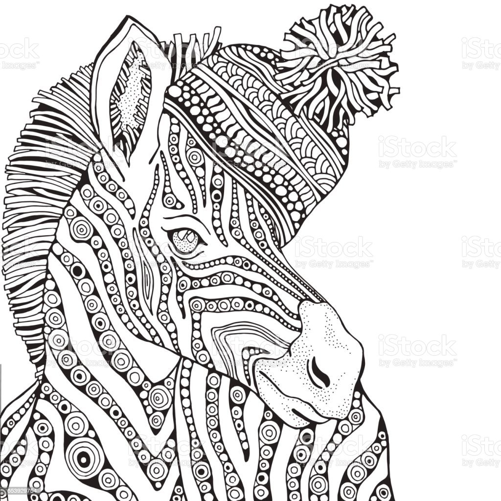 Coloring Book Page For Adult And Children Zebra Stock Illustration ...