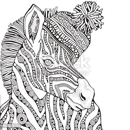 Kleurplaten Voor Volwassenen Zebra.Boek Kleurplaat Voor Volwassenen En Kinderen Zebra Stockvectorkunst