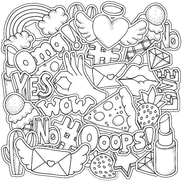 Coloring book page for adult set of Fashion Patch Badges vector art illustration