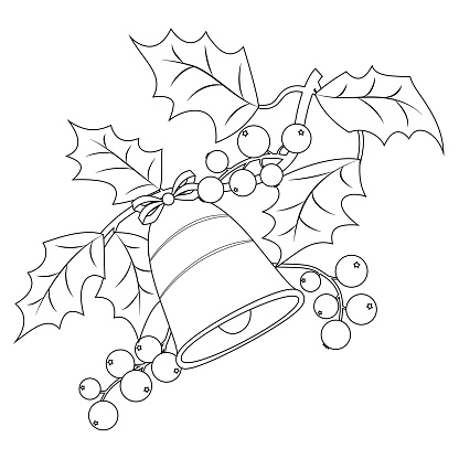 Coloring Book Page For Adults And Children Christmas Holly ...