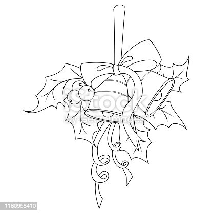 istock Coloring book page for adults and children. Holly berry with two bells, red bow and ribbon. Vector illustration. 1180958410