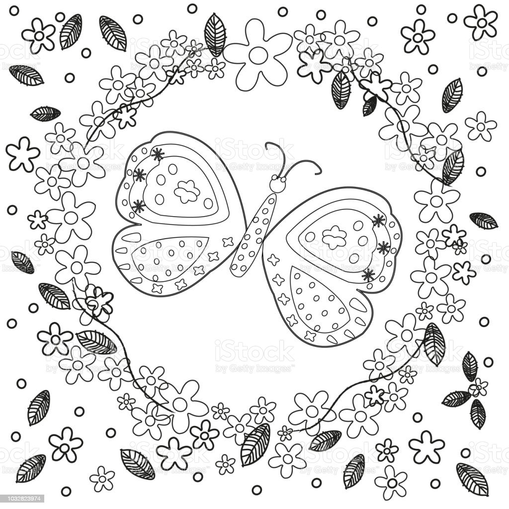 Coloring Book Page For Adults Line Art Creation Flowers And Butterfly Relax Meditation