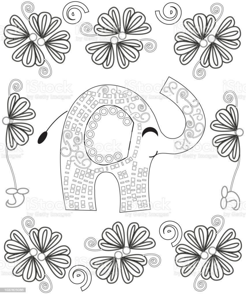 coloring book page for adults line art creation hand drawn elephant vector id