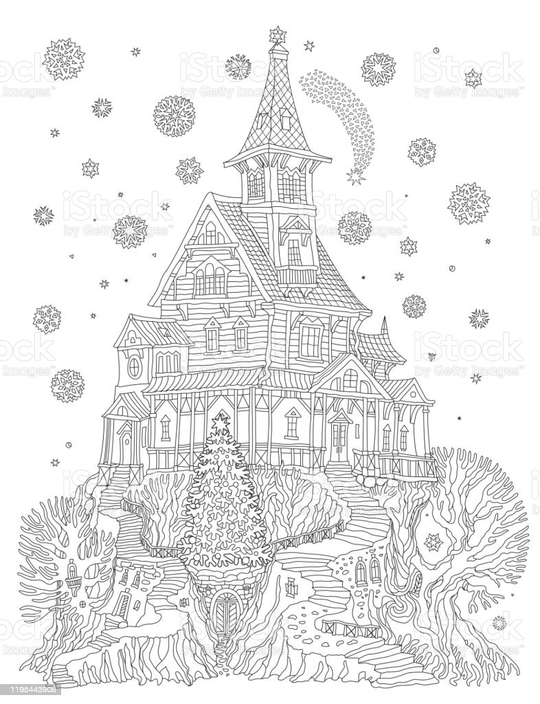 Coloring Book Page For Children And Adults Fantasy Old Tree Stump With Fairy Tale House And Firtree Linear Contour Sketch Teeshirt Print New Year And Christmas Greeting Card Party Invitation Stock Illustration