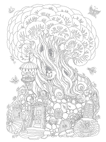 Coloring book page for children and adults, fantasy old tree with fairy tale squirrel house. Line art contour sketch. Tee-shirt print. Quarantine home isolation concept, coffee and tea drinking