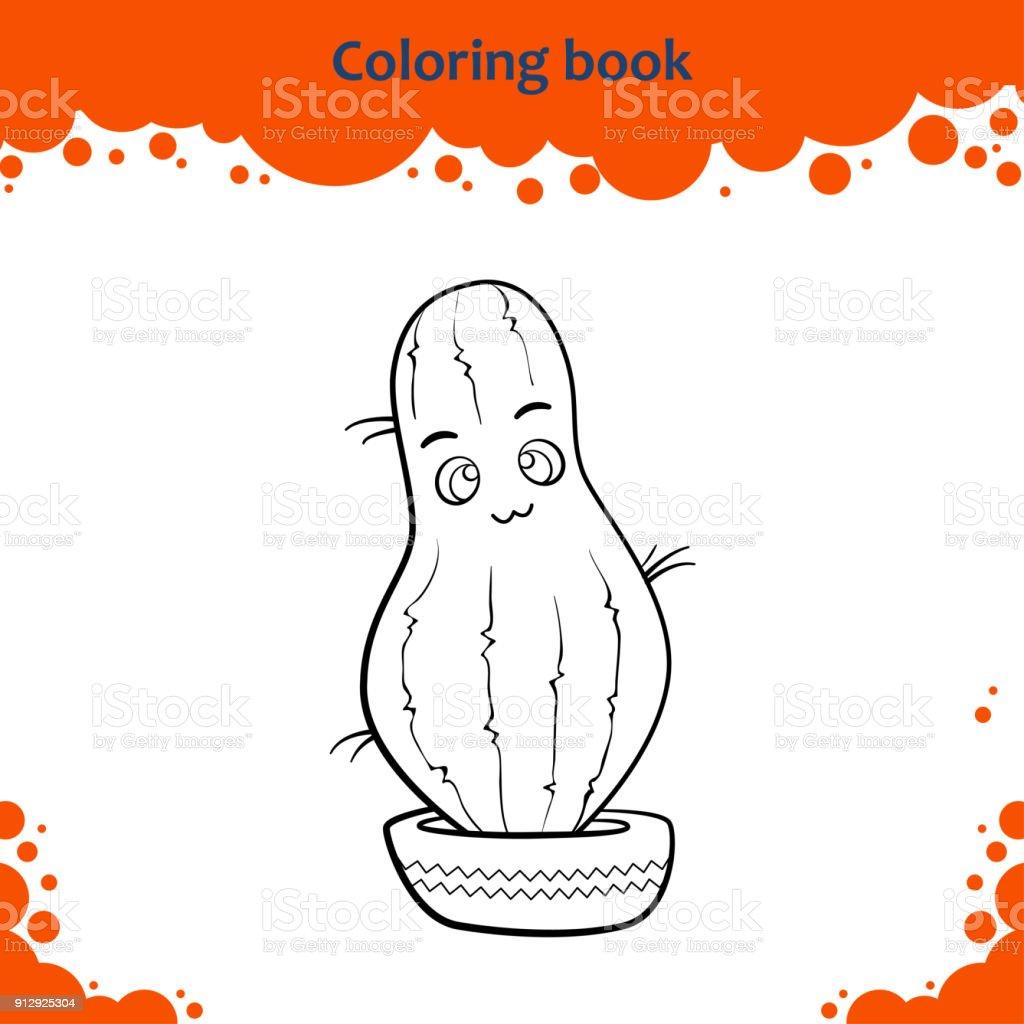 Cocuklar Icin Boyama Kitabi Sayfasi Sevimli Cizgi Kaktus Renk Stok