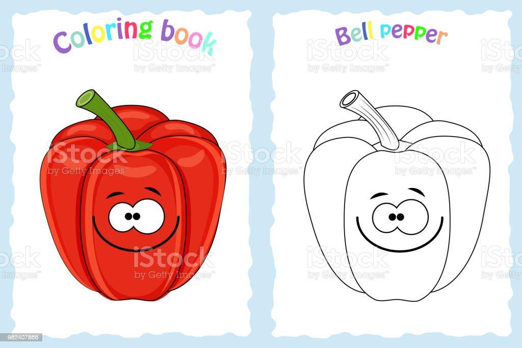 Buchmalvorlagen Fur Kinder Mit Bunten Paprika Und Stock Vektor Art