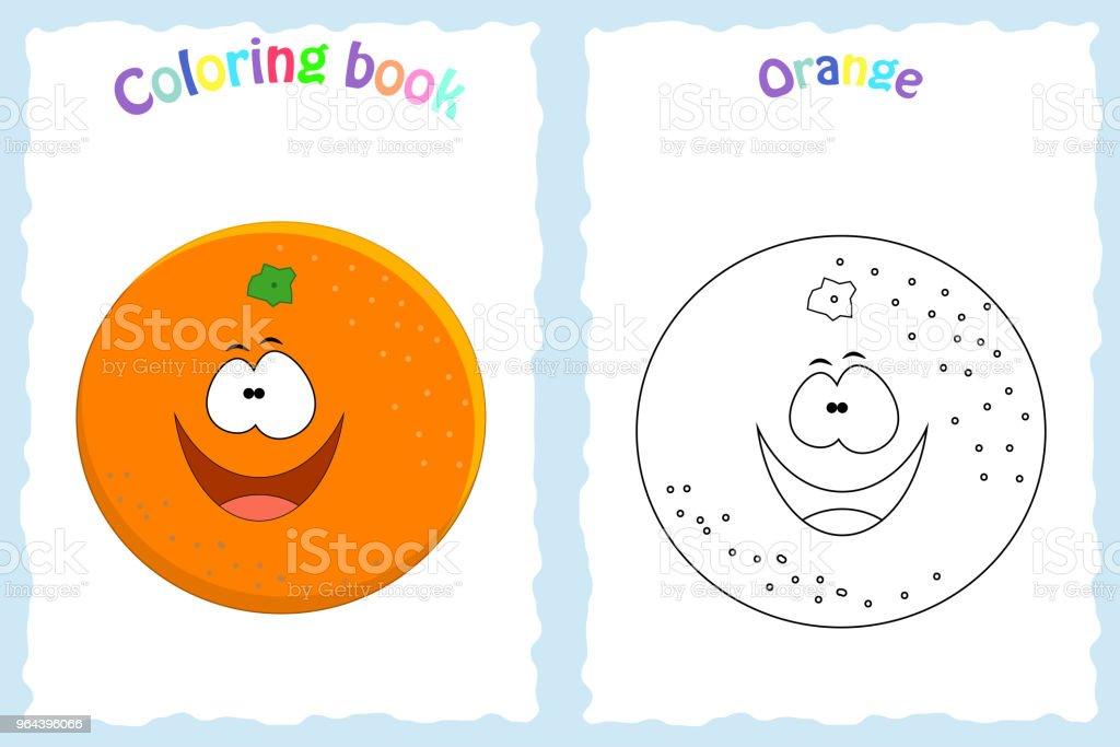 Boyama Kitabı Sayfası Renkli Portakal Ve Ske Olan çocuklar Için Stok