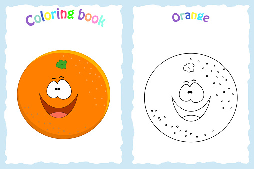 Coloring book page for  children with colorful orange  and ske