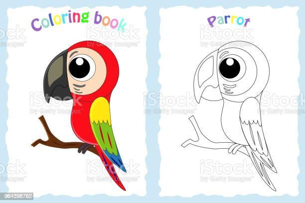 Vetores de Página De Livro Para Colorir Para Crianças Com Colorido Papagaio E Ske e mais imagens de Abstrato