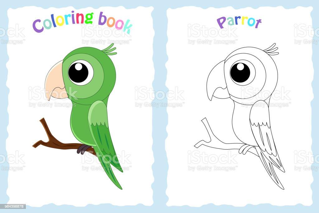 Página de livro para colorir para crianças com colorido papagaio e ske - Vetor de Abstrato royalty-free