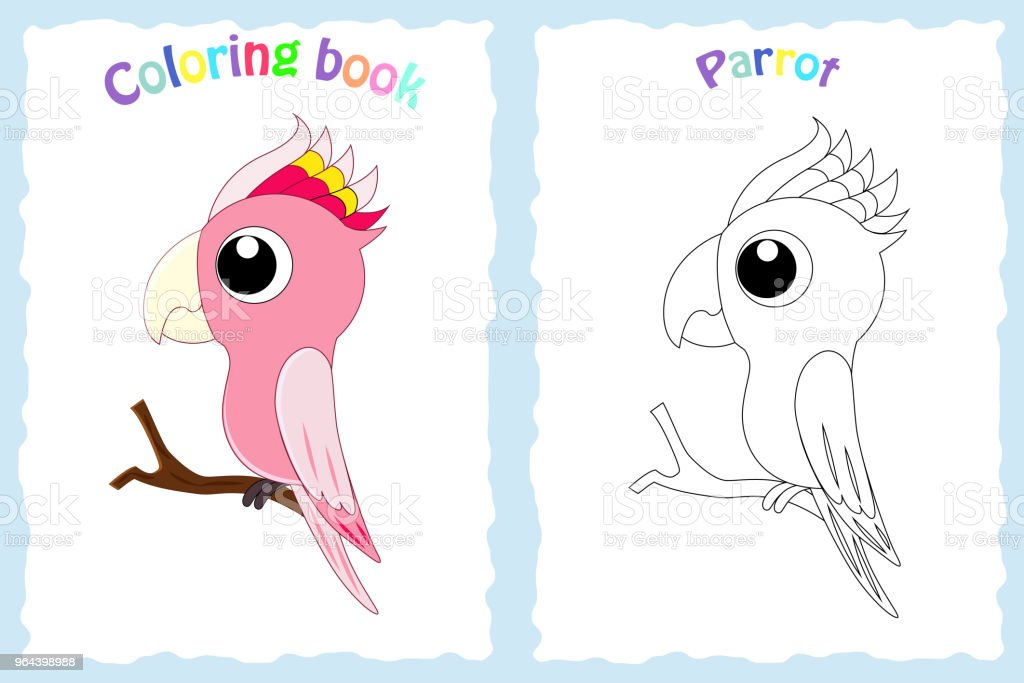 Ilustración de Página De Libro Para Colorear Para Niños Con Loro ...