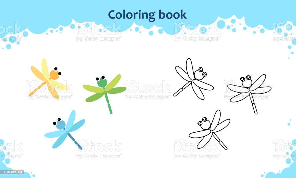 Buchmalvorlagen Für Kinder Farbe Der Cartoonlibelle Stock Vektor Art