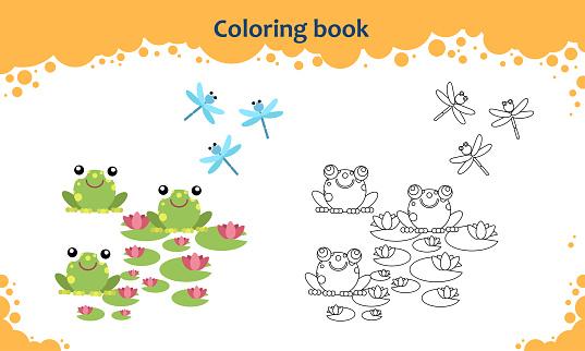 Buchmalvorlagen Für Kinder Farbe Der Cartoonfrösche Mit Lily Und