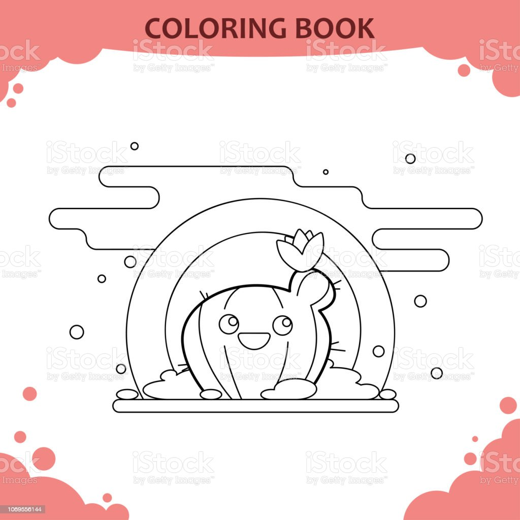 Coloring Book Page For Kids Color The Cute Cactus With Flower
