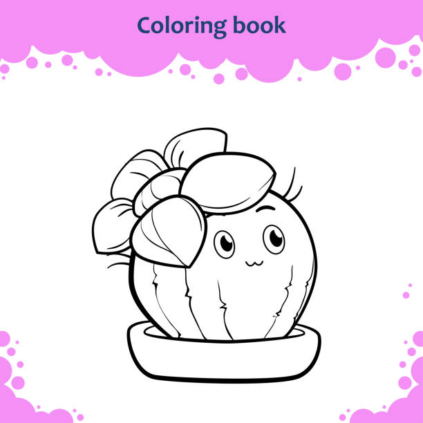 Coloring Book Page For Kids Color The Cute Cartoon Cactus With Flower Stock Vector Art More Images Of Adult 912925086