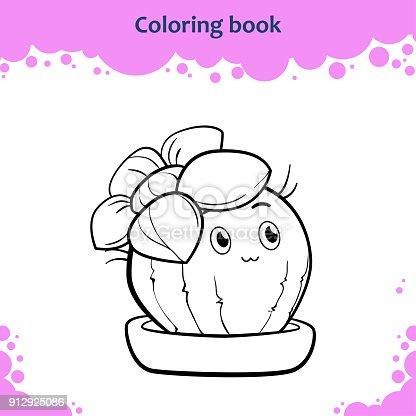 Buchmalvorlagen Für Kinder Farbe Der Niedlichen Cartoon Kaktus Mit ...