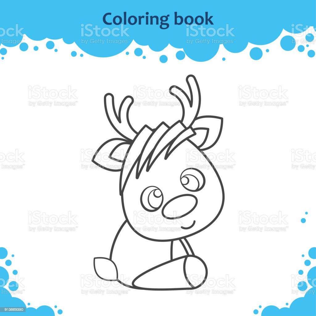 Ilustración de Página De Libro Para Colorear Para Niños El Reno De ...