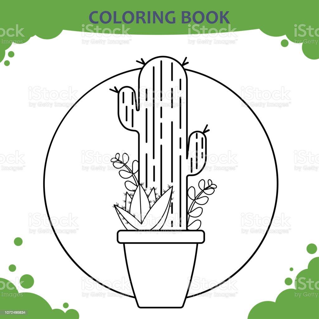 Cocuklar Icin Boyama Kitabi Sayfasi Tencerede Kaktusler Stok