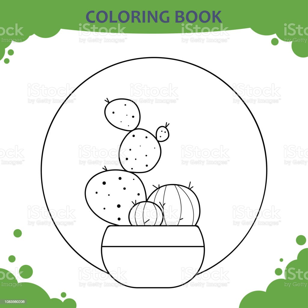 Coloring Book Page For Kids The Cactuses In Pot Stock Vector