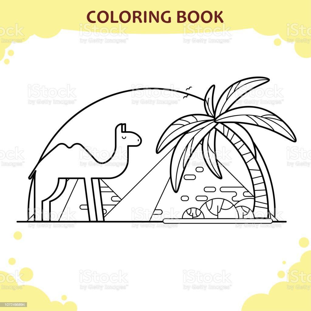 Vetores De Pagina De Livro Para Colorir Para Criancas O Camelo E