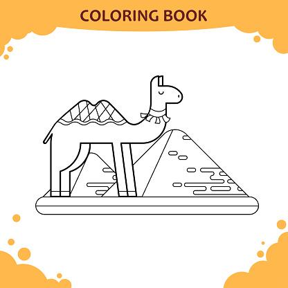 Cocuklar Icin Boyama Kitabi Sayfasi Deve Ve Giza Piramitleri Stok