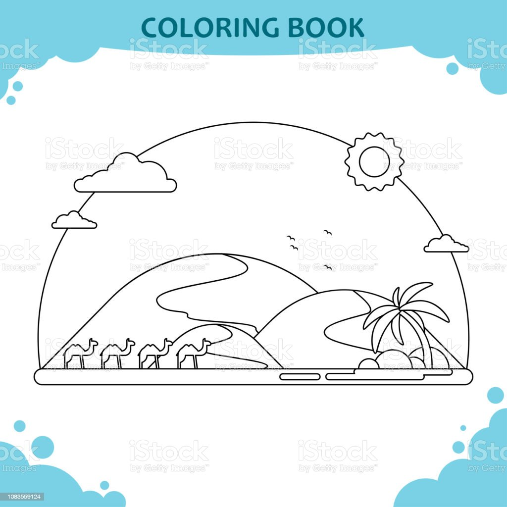 Ilustración De Página De Libro Para Colorear Para Niños El Paisaje