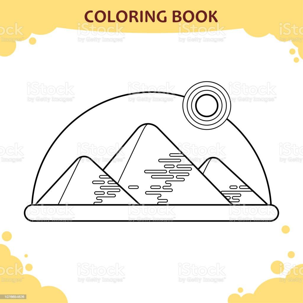 Cocuklar Icin Boyama Kitabi Sayfasi Giza Piramitleri Gunes Altinda